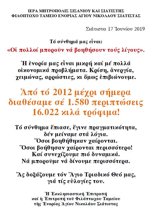 ΦΙΛΟΠΤΩΧΟ 2019